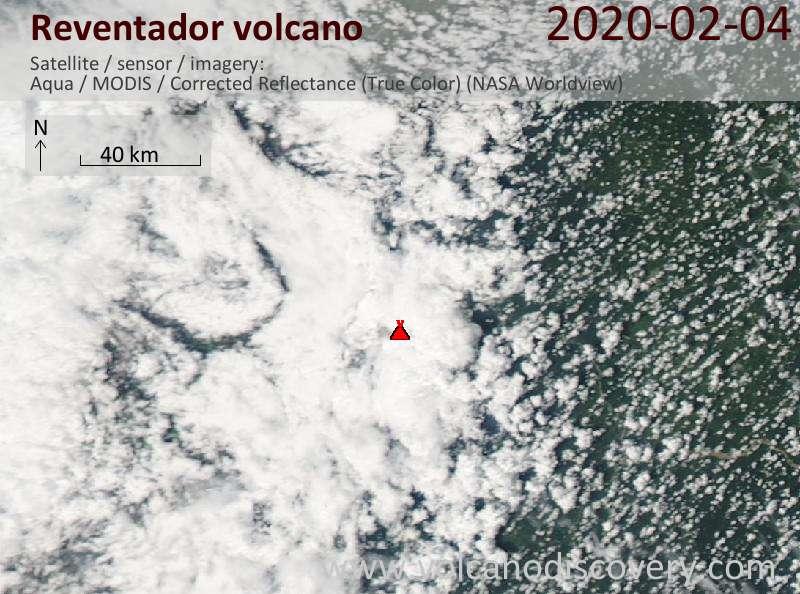 Спутниковое изображение вулкана Reventador  5 Feb 2020