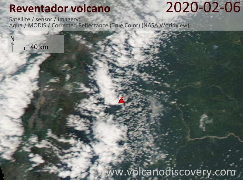 Satellitenbild des Reventador Vulkans am  6 Feb 2020