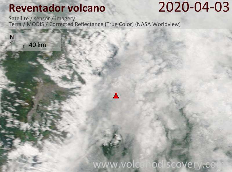 Satellite image of Reventador volcano on  3 Apr 2020