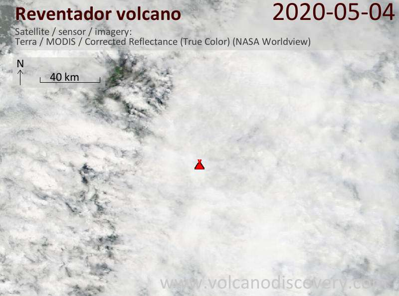 Satellite image of Reventador volcano on  4 May 2020