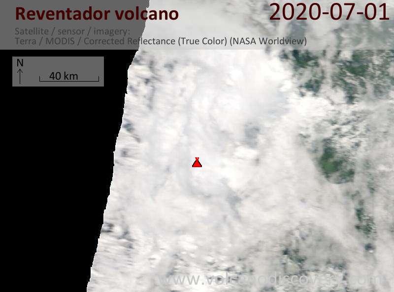 Satellite image of Reventador volcano on  1 Jul 2020