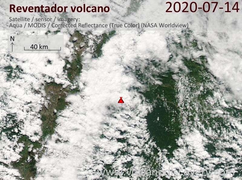 Satellite image of Reventador volcano on 14 Jul 2020