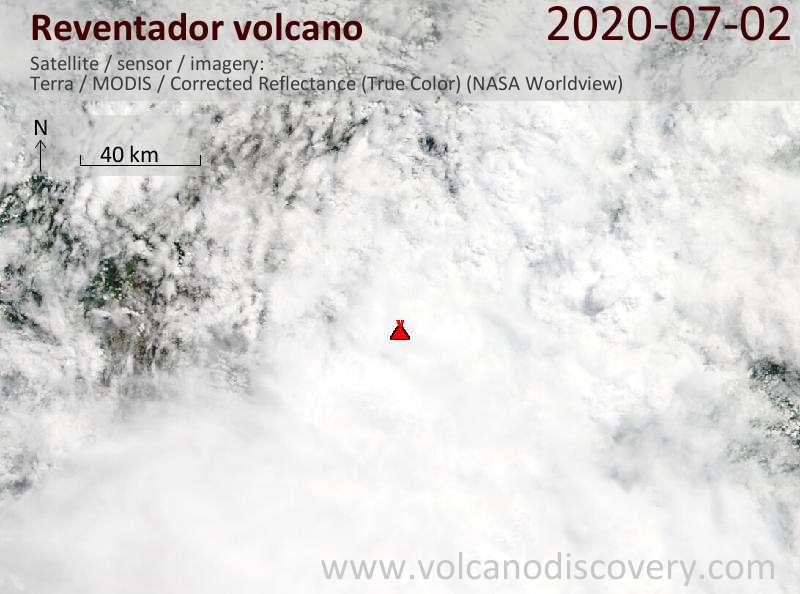 Satellite image of Reventador volcano on  2 Jul 2020