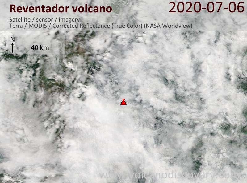 Satellite image of Reventador volcano on  6 Jul 2020