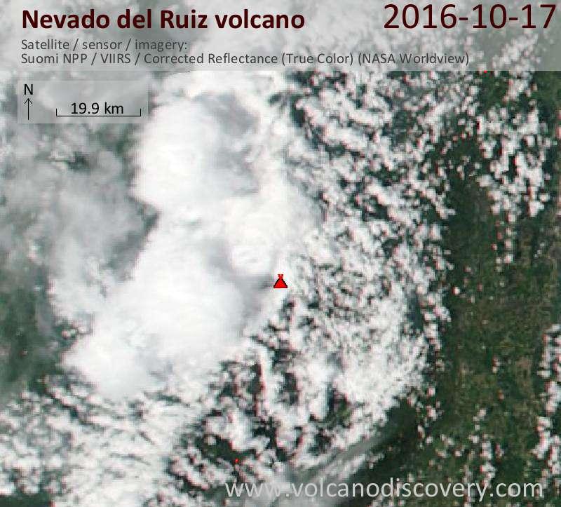 Satellite image of Nevado del Ruiz volcano on 17 Oct 2016