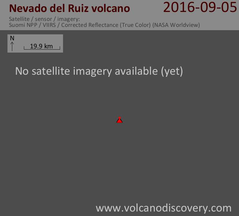 Satellite image of Nevado del Ruiz volcano on  5 Sep 2016