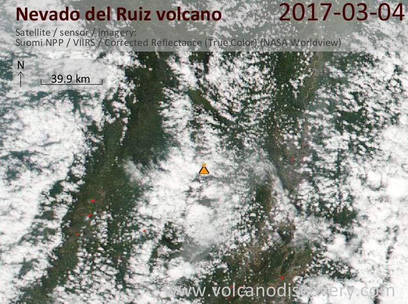 Satellite image of Nevado del Ruiz volcano on  5 Mar 2017