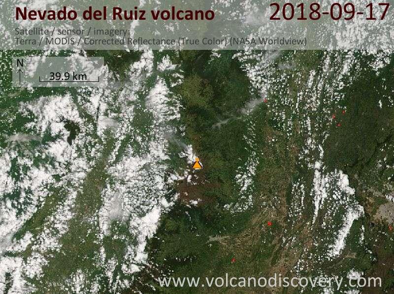 Satellite image of Nevado del Ruiz volcano on 17 Sep 2018