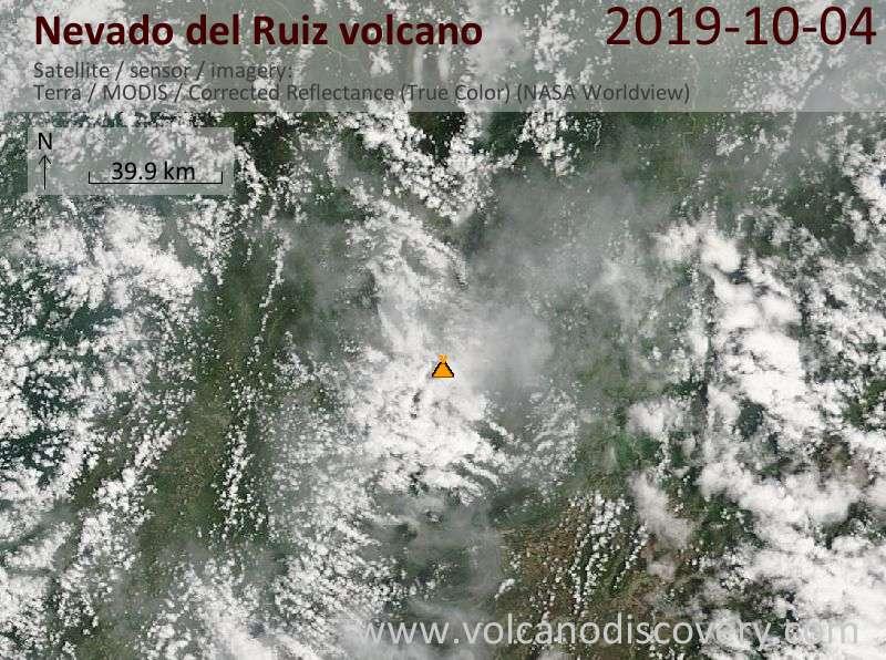 Satellite image of Nevado del Ruiz volcano on  4 Oct 2019