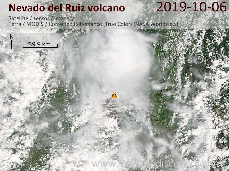 Satellite image of Nevado del Ruiz volcano on  6 Oct 2019