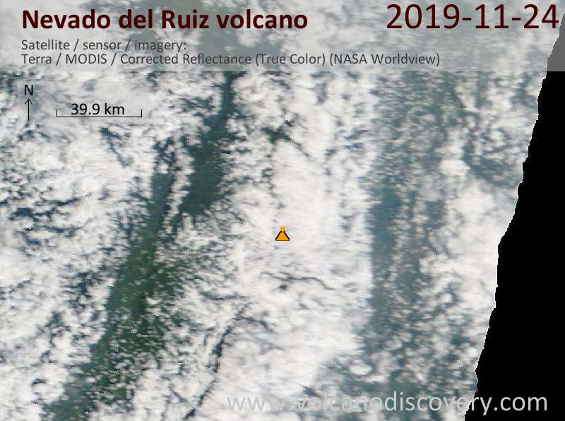 Satellite image of Nevado del Ruiz volcano on 24 Nov 2019