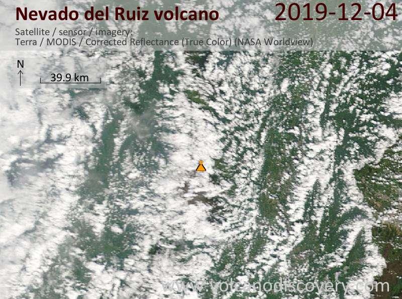 Satellite image of Nevado del Ruiz volcano on  4 Dec 2019
