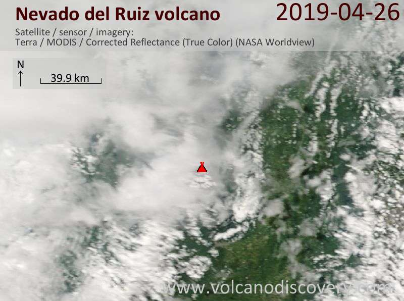 Satellitenbild des Nevado del Ruiz Vulkans am 26 Apr 2019