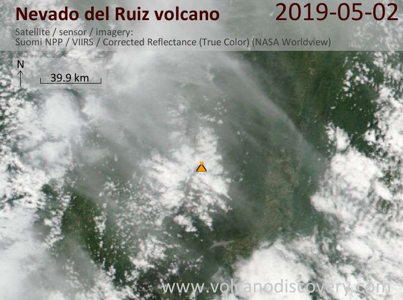Satellitenbild des Nevado del Ruiz Vulkans am  2 May 2019