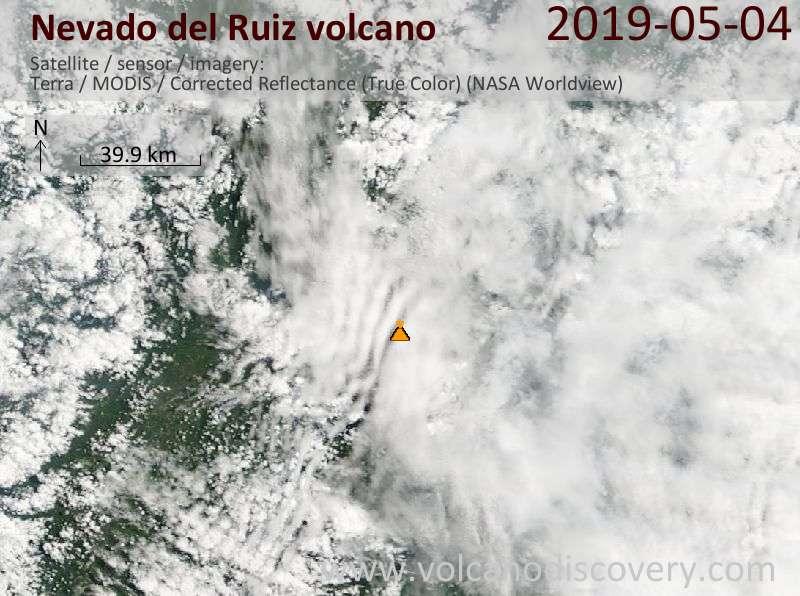 Satellite image of Nevado del Ruiz volcano on  4 May 2019