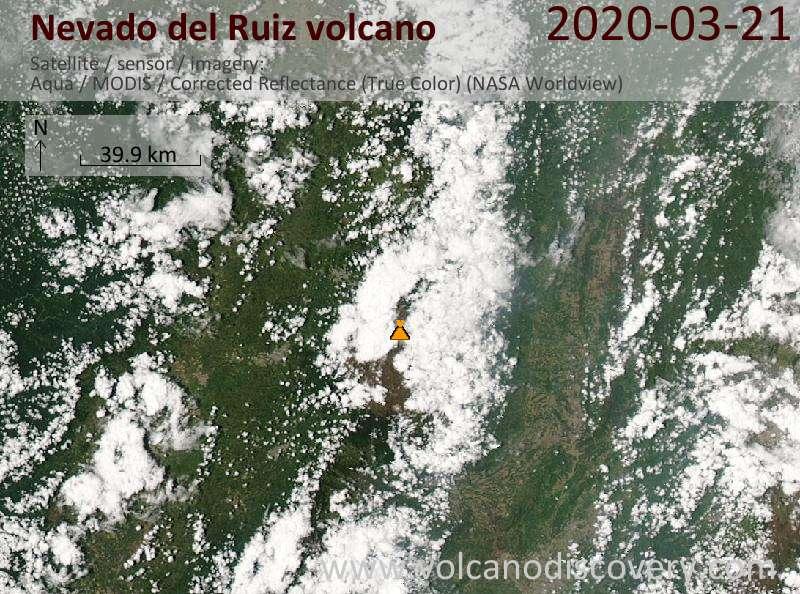 Satellite image of Nevado del Ruiz volcano on 21 Mar 2020