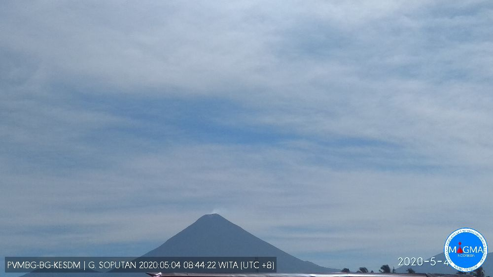 Plume rising from Soputan volcano on 4 May (image: PVMBG)