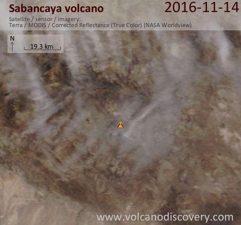 Satellite image of Sabancaya volcano on 14 Nov 2016