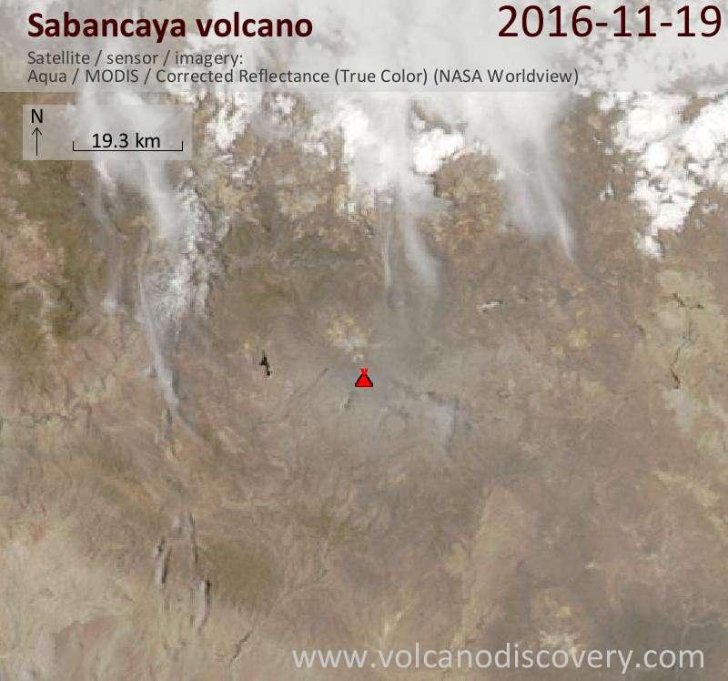 Satellite image of Sabancaya volcano on 19 Nov 2016