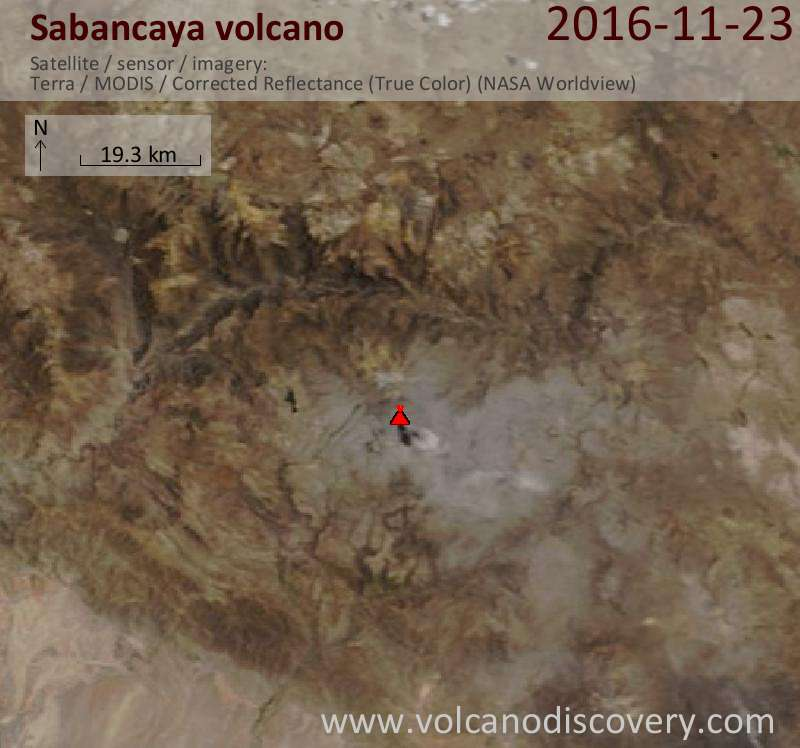 Satellite image of Sabancaya volcano on 23 Nov 2016