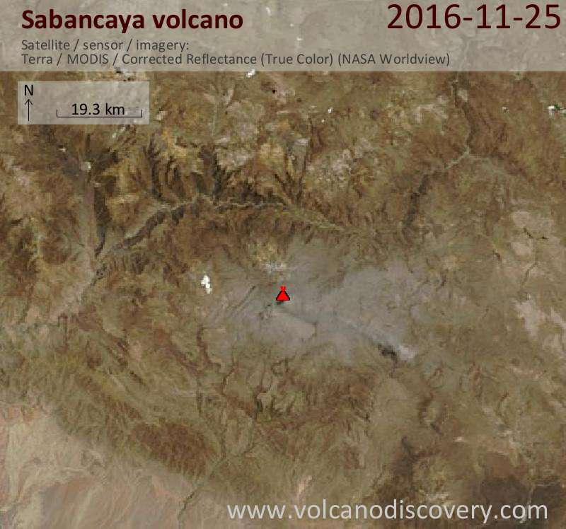 Satellite image of Sabancaya volcano on 25 Nov 2016