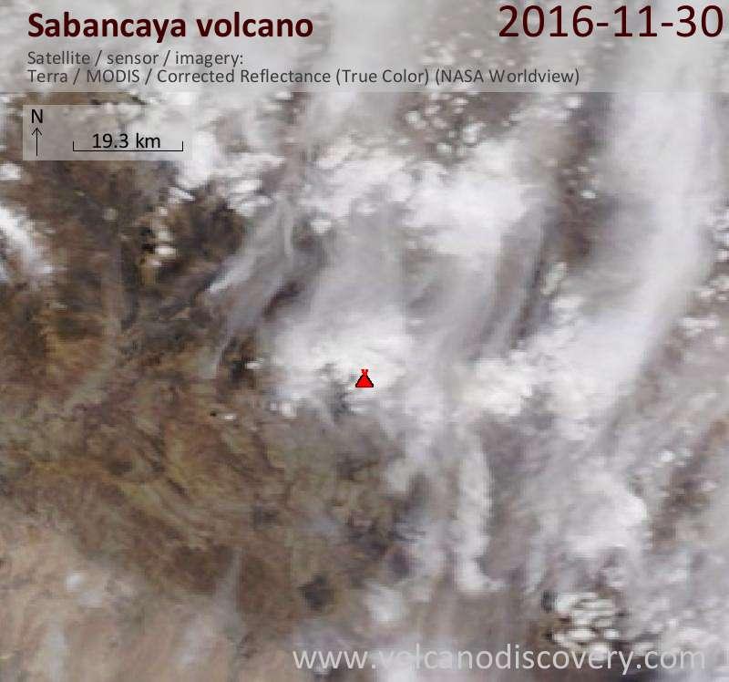 Satellite image of Sabancaya volcano on 30 Nov 2016