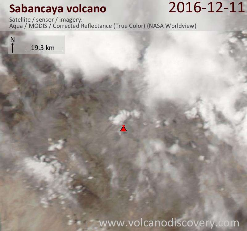 Satellite image of Sabancaya volcano on 12 Dec 2016