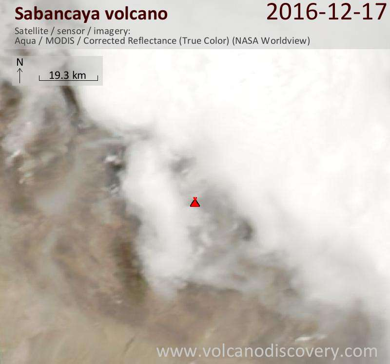 Satellite image of Sabancaya volcano on 18 Dec 2016