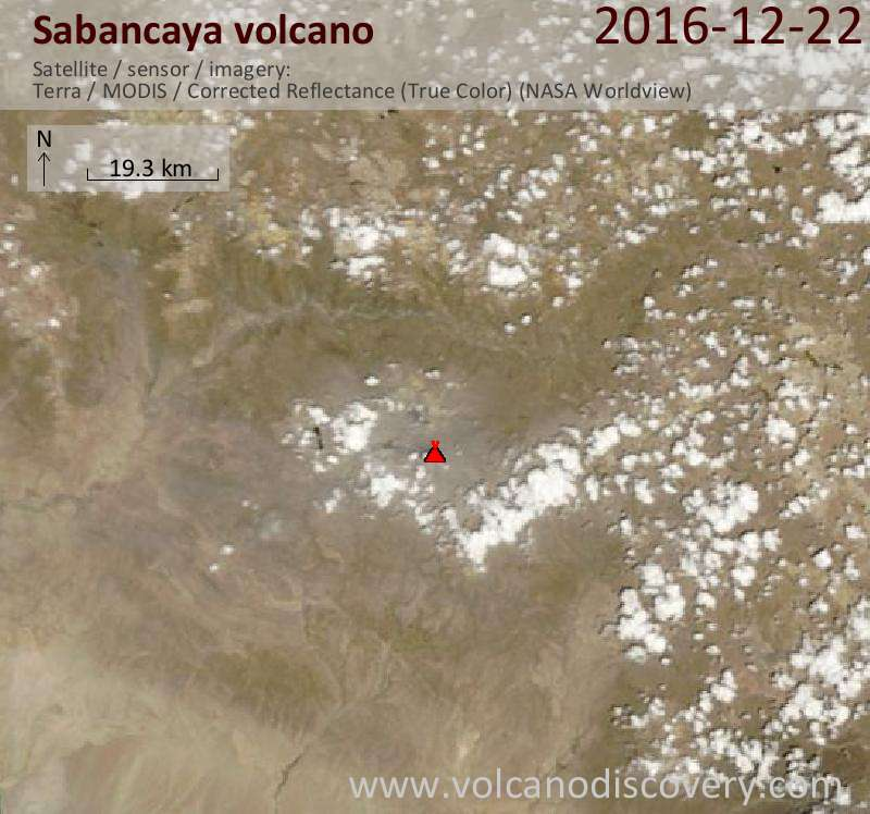 Satellite image of Sabancaya volcano on 22 Dec 2016