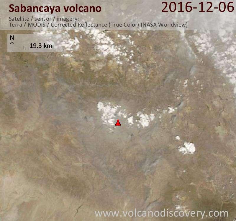 Satellite image of Sabancaya volcano on  6 Dec 2016