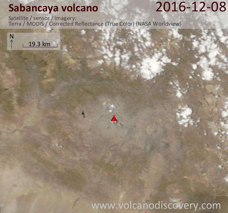 Satellite image of Sabancaya volcano on  8 Dec 2016