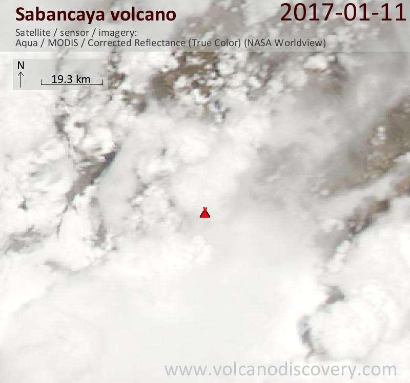 Satellite image of Sabancaya volcano on 12 Jan 2017
