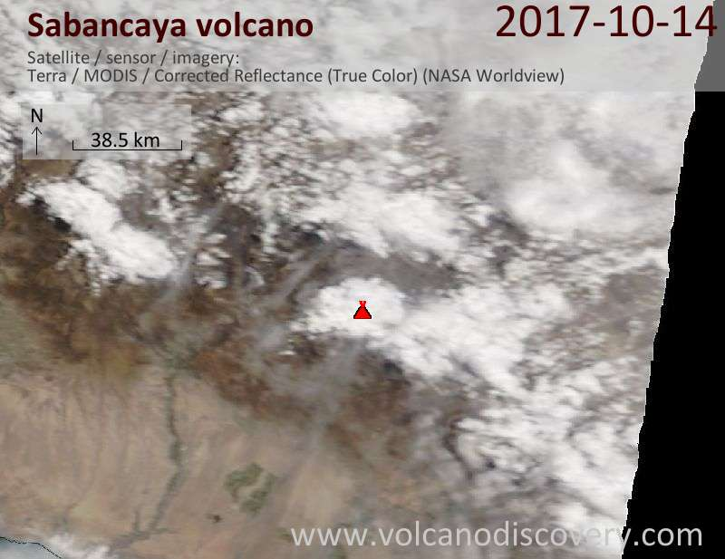 Satellite image of Sabancaya volcano on 15 Oct 2017