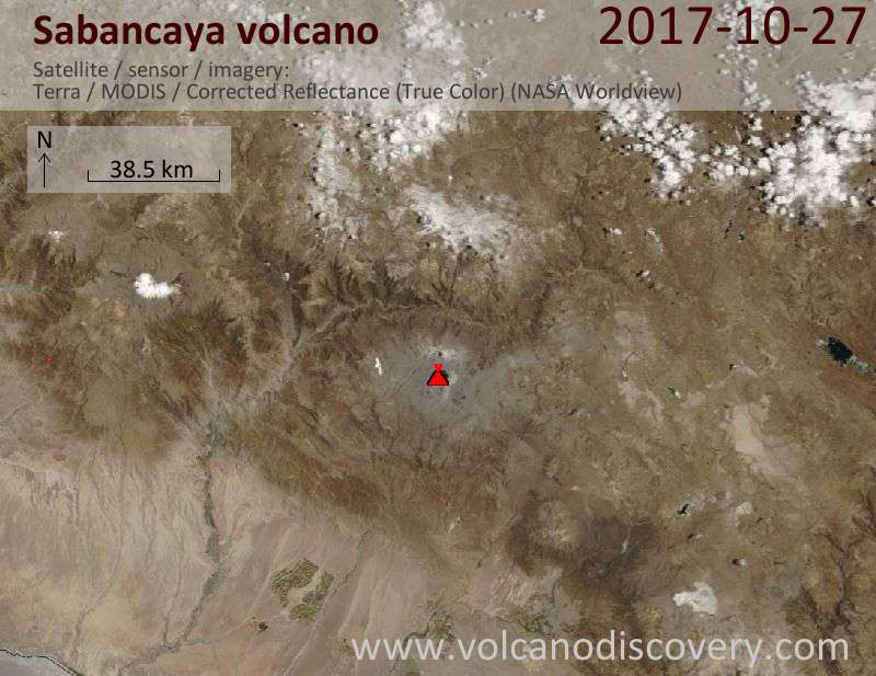 Satellite image of Sabancaya volcano on 27 Oct 2017