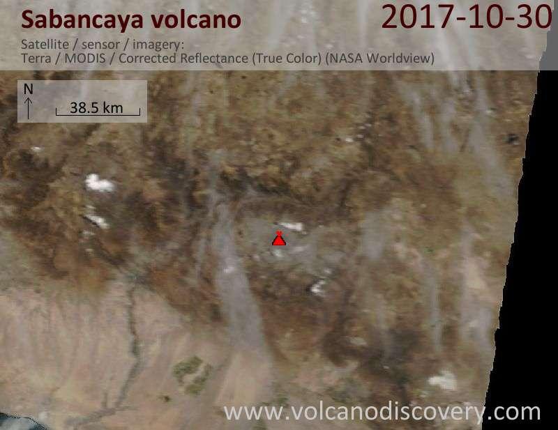Satellite image of Sabancaya volcano on 30 Oct 2017