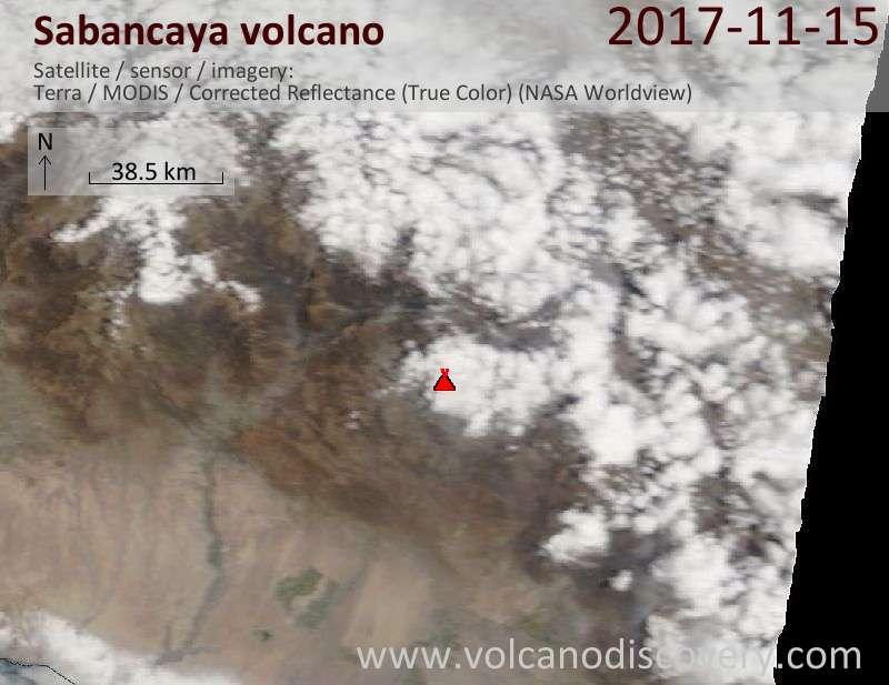 Satellite image of Sabancaya volcano on 15 Nov 2017