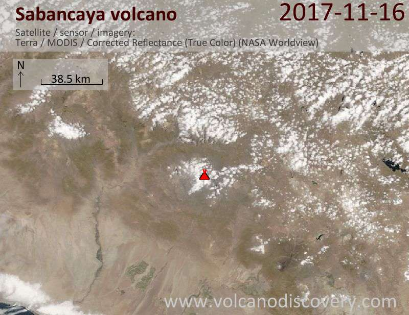 Satellite image of Sabancaya volcano on 17 Nov 2017