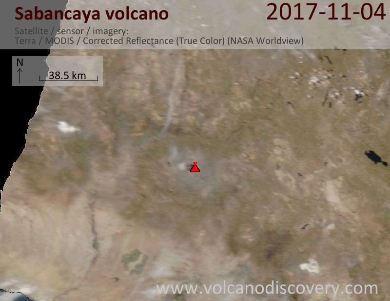 Satellite image of Sabancaya volcano on  4 Nov 2017