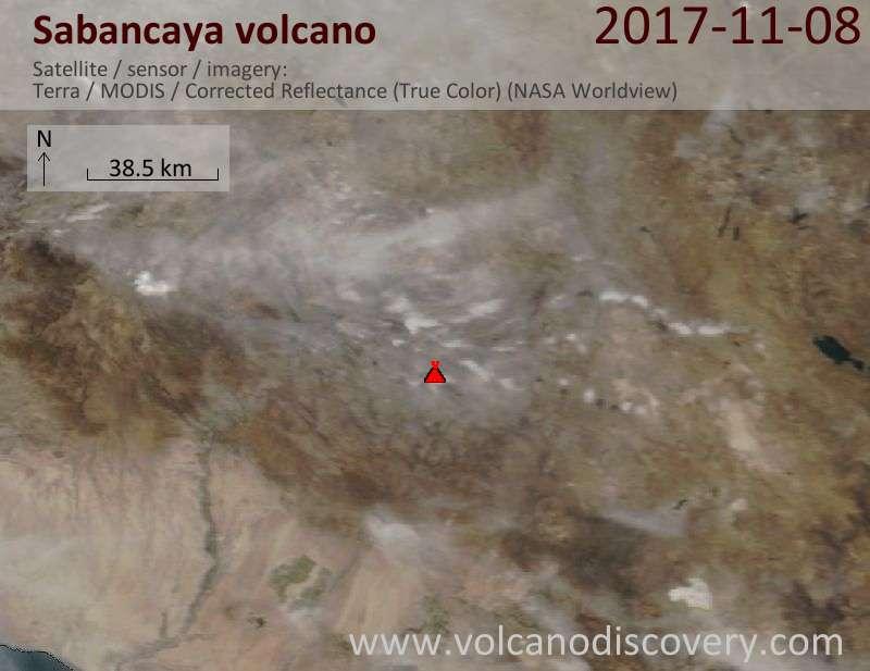 Satellite image of Sabancaya volcano on  8 Nov 2017