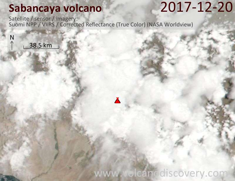 Satellite image of Sabancaya volcano on 20 Dec 2017