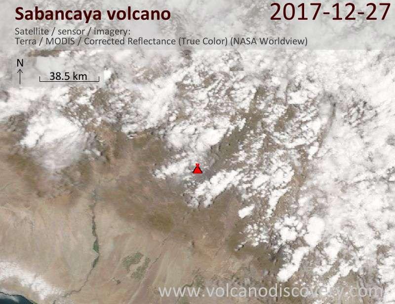 Satellite image of Sabancaya volcano on 27 Dec 2017