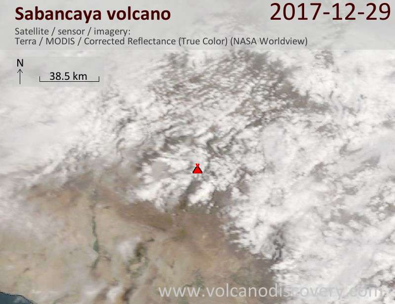 Satellite image of Sabancaya volcano on 29 Dec 2017