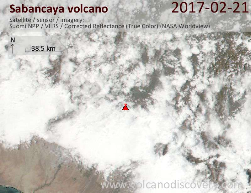Satellite image of Sabancaya volcano on 22 Feb 2017