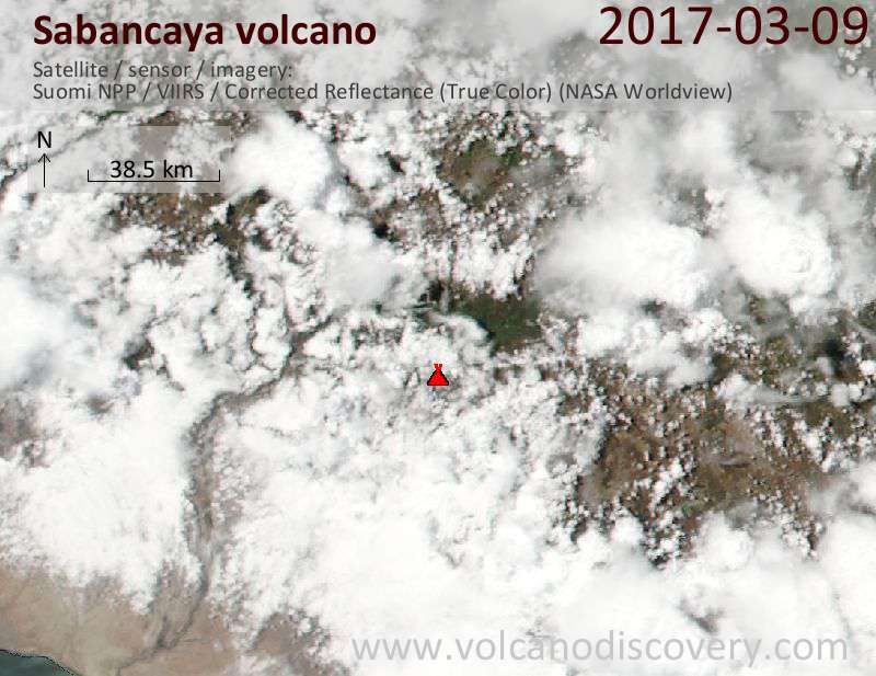 Satellite image of Sabancaya volcano on 10 Mar 2017