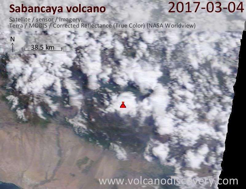 Satellite image of Sabancaya volcano on  4 Mar 2017