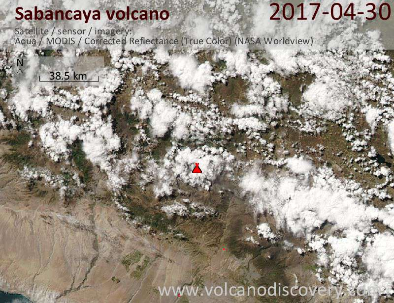 Satellite image of Sabancaya volcano on  1 May 2017