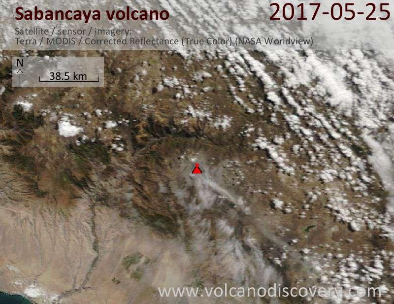 Satellite image of Sabancaya volcano on 25 May 2017