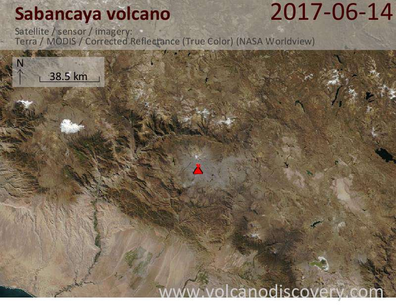Satellite image of Sabancaya volcano on 14 Jun 2017