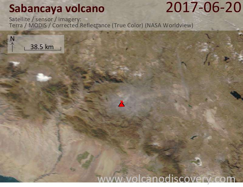 Satellite image of Sabancaya volcano on 20 Jun 2017