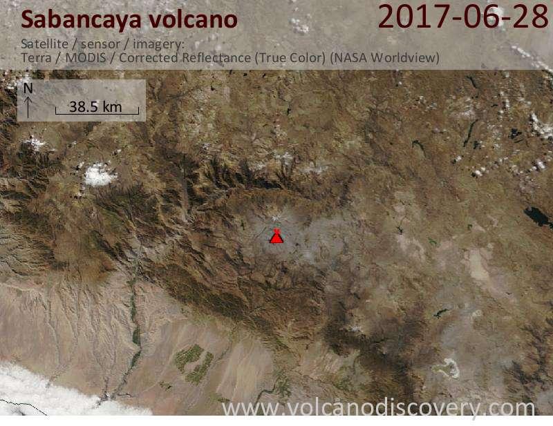 Satellite image of Sabancaya volcano on 28 Jun 2017
